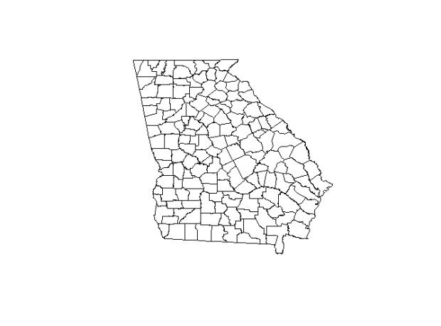 """Polygon """"georgia"""" hasil pembacaan dari file SHP."""